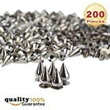 200pcs/set 9.5mm Silver Cone Spikes Screwback Studs DIY Craft Cool Rivets Punk