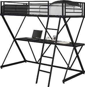 DHP X-Loft Metal Bunk Bed Frame with Desk - Space Saving Design - Twin, Black