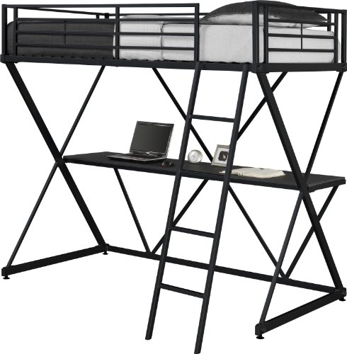 DHP X-Loft Metal Bunk Bed Frame with Desk - Space Saving Design - Twin, Black by DHP