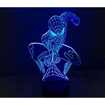 Spiderman 3D Illusion LED Projector Lamp Light – Projecting Color-Changing USB Nightlight Decor for Kids Bedroom, Game Room, Man Cave