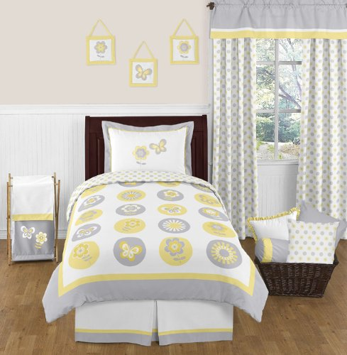 Yellow, Gray and White Mod Garden 4pc Girl Flower and Butterfly Twin Bedding Set Collection