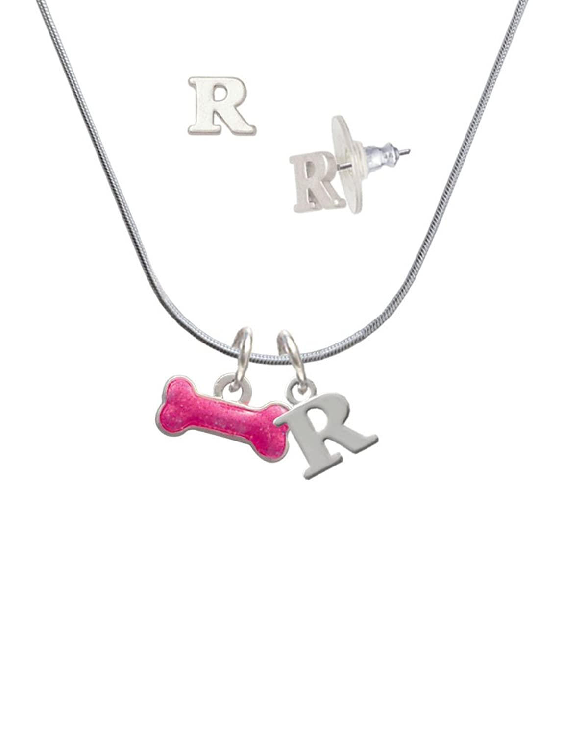 Hot Pink Glitter Dog Bone - R Initial Charm Necklace and Stud ...