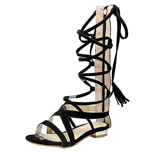 COOLCEPT Women Fashion Lace Up Sandals Open Toe Gladiator Shoes Black tC2LJ4mH