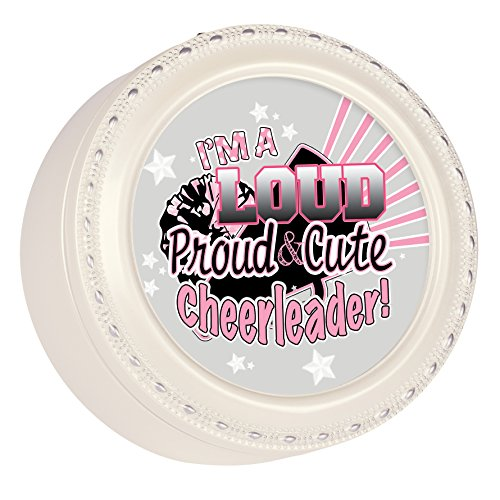 Loud Proud Cute Cheerleader Glossy Ivory Round Jewelry Music Box Plays Tune You Light Up My Life