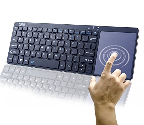 Wireless Keyboard, Ultrathin All in One Metal Bluetooth Keyboard Gosin Touchpad for mobile and tablet with Windows and Android,Touchpad do not work with Smart TV & Home Theater & IOS (Black) (Wireless Keyboard W Touchpad)
