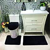 Luxury Home Collection 3 Pc Bath Rug Set Memory Foam Non-Slip Bathroom Rug Contour, Mat and Toilet Lid Cover Solid New (Black)