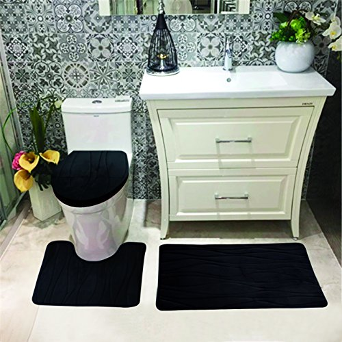 Luxury Home Collection 3 Pc Bath Rug Set Memory Foam Non-Slip Bathroom Rug Contour, Mat and Toilet Lid Cover Solid New…