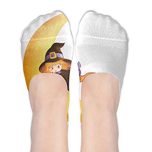 Halloween Witch On The Moon.PNG Womens Low Cut Socks No Show Liner Boot Sock Athletic Socks Thin Fit]()