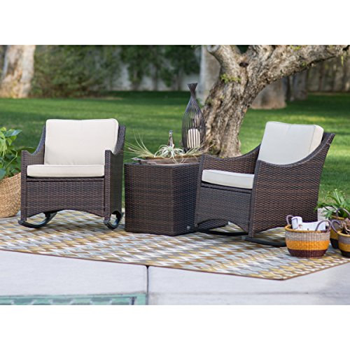 Patio Furniture Sets,Traditional Harrison, Patio Set 3 Piece, Club Style Durable Resin Wicker Outdoor Patio Rocking Chairs With Side Storage Table Comes In Dark Brown Finish