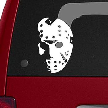 "Jason Hockey Mask - Friday The 13th, 6"" White Car Truck Vinyl Decal Sticker"