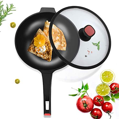 VOSIN Nonstick Woks and Stir Fry Pans With Lid, Nonstick Frying Wok Flat Bottom,Less Oil Smoke, Multi-function Wok,Induction Compatible pan-12.6Inch