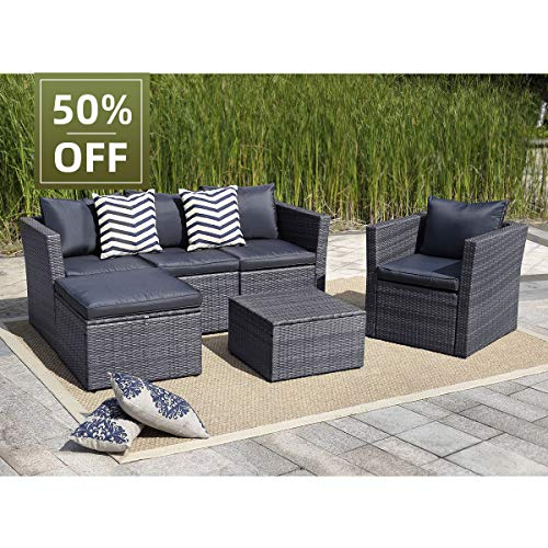 View & co Patio Sofa Patio Furniture Outdoor Sectional Furniture Set P.E Rattan Conversation Sets with Matching Waterproof Patio Cushions and Coffee Table (6 Set-Gray-Dark Blue & Gray 1) (Rotan Furniture)