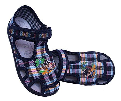 Sandalen Jungen Hausschuhe mit Navy Kinder Leder Stoffschuhe Innensohle Pirat Klettverschluss Blau Renbut Blau Baby Gelb HFqwIH5