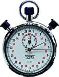 Prec. Mechan. Double Stop Watch ind.-time 15min., read. 1/10sec. diamond polished metal housing, 7 pin lever jewels, in a box