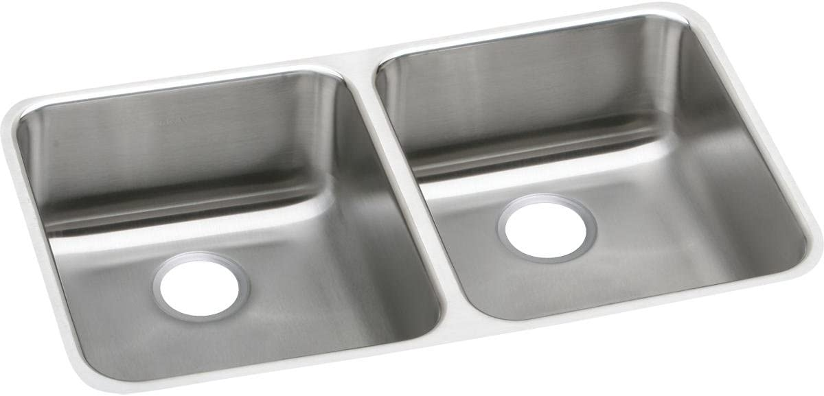 Elkay Lustertone ELUH3118 Equal Double Bowl Undermount Stainless Steel Kitchen Sink