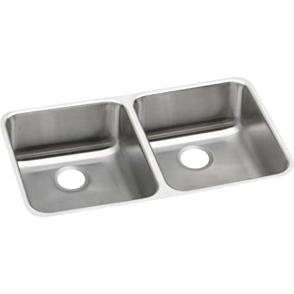 fba5789068 Image Unavailable. Image not available for. Color: Elkay Lustertone  ELUH3118 Equal Double Bowl Undermount Stainless Steel Kitchen Sink