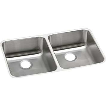 Elkay Lustertone ELUH3118 Equal Double Bowl Undermount Stainless Steel  Kitchen Sink