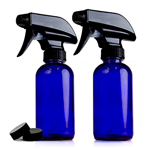 ChefLand Pack of 2-8 Oz. Refillable, Blue Cobalt Glass Spray Bottles for Cleaning, Aromatherapy, Organic Beauty and making Solar Water, With Adjustable Black Spray Top And 2 Storage Caps