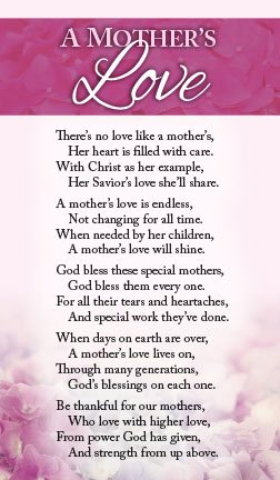 Bookmark Mothers Day - A Mother's Love (Packet of 100, KJV)