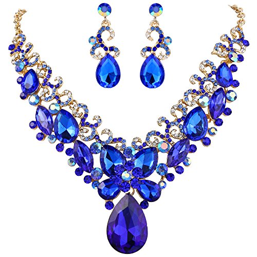 Blue And Gold Costumes - BriLove Costume Fashion Necklace Earrings Jewelry