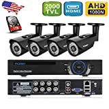 incoSKY Security Camera System 8CH 1080p DVR and 4XIndoor/Outdoor 1.3MP 960P 2000TVL Cameras with IR Night Vision LED and 1TB HDD for Home Monitoring CCTV Surveillance E2-H