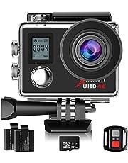 Campark® ACT76 Camera Sport 4K Ultra HD WiFi 16 MP Caméra d'action Sportive Etanche 30M, 170 Degrée Télécommande avec 2 Batterie et inclut des Kits Complets d'Accessoires und 32GB Micro SD Karte