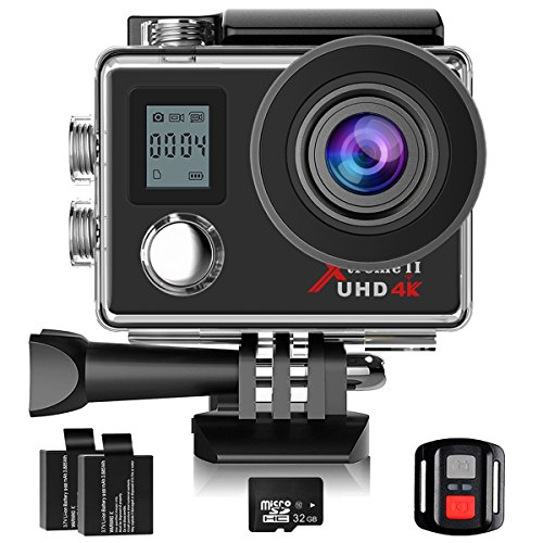 Campark Action Cam, 4K Sport Camera WiFi Underwater Camera Helmet Camera 170° Wide Angle with 32GB Class 10 Memory Card,2.4G Remote Control,Time Lapse and Slow Motion