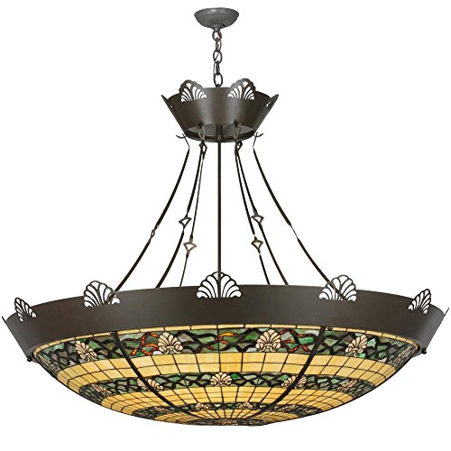 Meyda Tiffany Custom Lighting 113950 Shell and Ribbon 8-Light Inverted Pendant, Timeless Bronze Finish with Beige and Green Stained Art Glass (Cottage Stained Glass Chandelier)