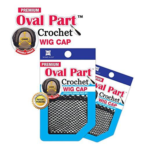 Shake N Go Freetress Premium Oval Part Crochet Wig Cap (3 Pack)