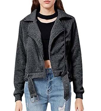 Women's Fashion Slim Casual Sport Full Zipper Moto Biker Jacket Coat with Belt 1 L