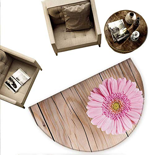 (Rustic Semicircle Doormat One Large Gerbera Daisy on Oak Tree Background Dramatic South American Exotic Photo Halfmoon doormats H 74.8