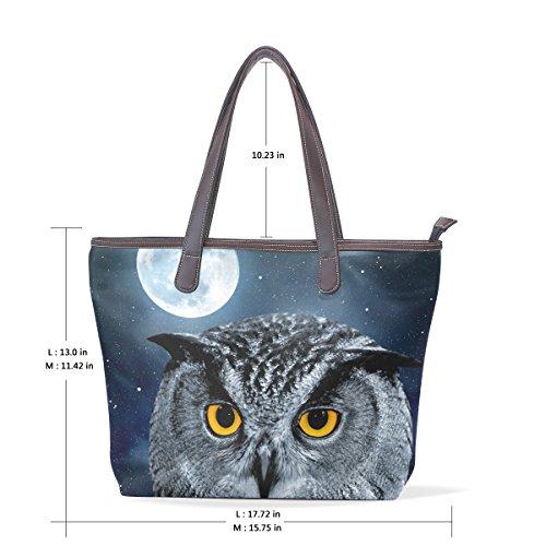 COOSUN Eagle Owl Bubo Large Tote PU Leder Griff Schultertasche Frauen Tasche