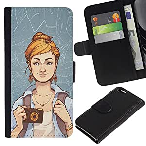 YiPhone /// Tirón de la caja Cartera de cuero con ranuras para tarjetas - Hipster Chica - Apple Iphone 6