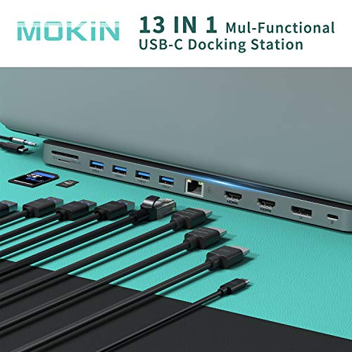 USB C Docking Station, 13-in-1 USB C Multiport Adapter USB C Dongle with 4K Dual HDMI+DP Display+Ethernet+4 USB,+SD/TF+USB C PD+Data Port+Audio/Mic for Dell XPS 13/15/Surface Pro 7 Go/MacBook Pro/Air