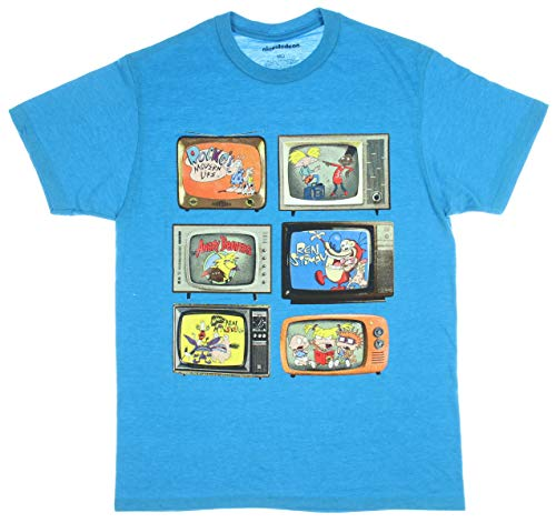 (Nickelodeon Men's 90's Return to Your Favorite Scheduled Programs T-Shirt (LG) Turquoise)