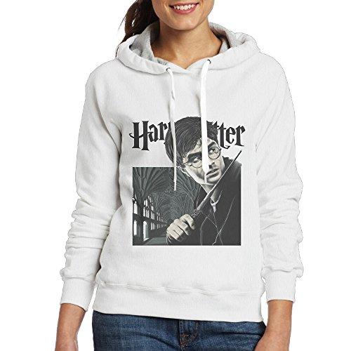 [Harry Potter Daniel Radcliffe Women Pullover Hooded Hoodie Sweatshirt White] (Hermione Granger Costume Casual)