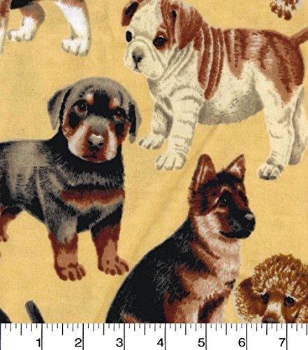 (Flannel Realistic Dogs Fabric Sold by the Yard)