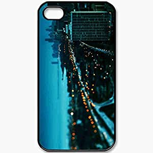 Protective Case Back Cover For iPhone 4 4S Case Chicago Building Sunset Winter Lights Beautifully Black