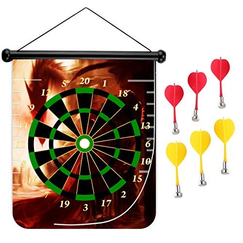 15 inches Magnetic Dart Board Double Sided Hanging Dart Board Set and Bullseye Game! Dragon 8 (Skyrim Board Game)