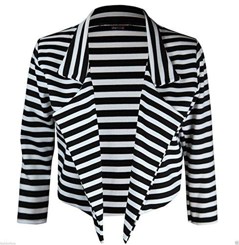 Shelikes Noir Femme rayures Blanches Blouson 8qS8XrE