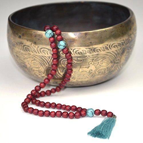 Mala avec des pierres décoratives et houppe – Perles de prière de 108 perles en bois et des pierres semi-précieuses – de Ahimsa Glow®
