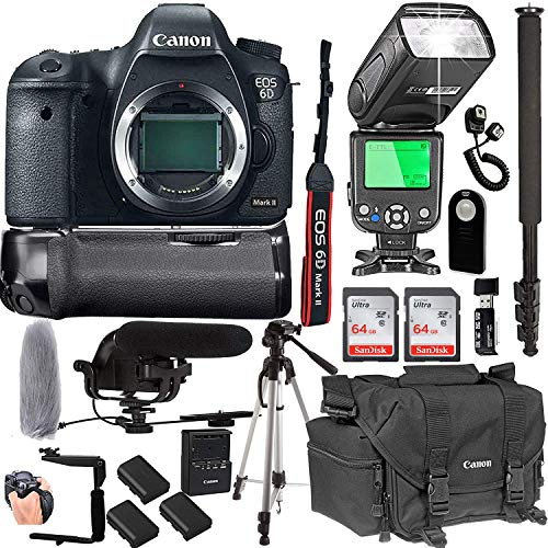 Canon EOS 6D Mark II Body Only + 128GB Memory + Canon Deluxe Camera Bag + Pro Battery Bundle + Power Grip + Microphone + TTL Speed Light (20pc ()