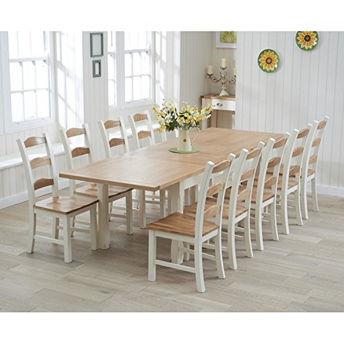 Petal Painted Oak Furniture Large Extending Dining Table 270cm. Petal Painted Oak Furniture Large Extending Dining Table 270cm