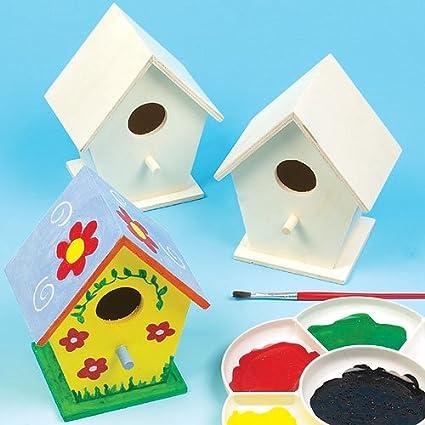 Baker Ross Casitas de madera para pájaros (Paquete de 4) Para pintar y decorar