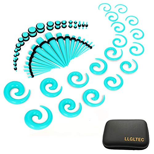 LLGLTEC Ear Stretching Kit 54 Pieces 14G-00G Ear Gauges Expander Set Acrylic Tapers and Plugs & Silicone Tunnels Body Piercing Jewelry Set with EVA Box (Green) ()