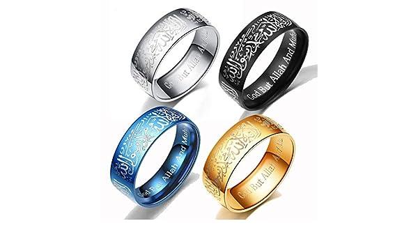 Muslim Islamic Ring Titanium Steel With Shahada In Arabic