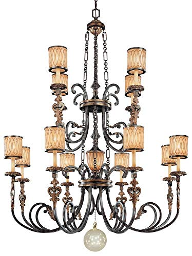 (Minka Metropolitan N6499-270 Terraza Villa - Thirteen Light 2-Tier Chandelier, Terraza Village Aged Patina/Gold Leaf Finish with Spumante Strato Glass)