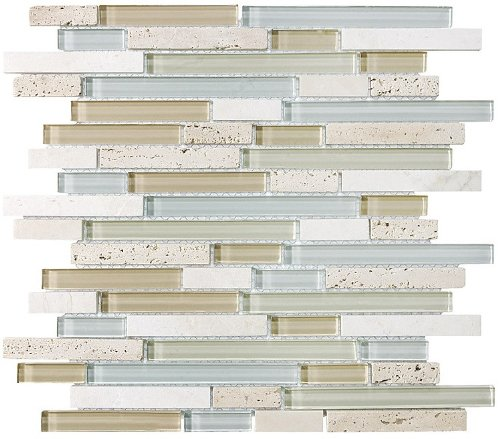 10 Sq Ft - Bliss Spa Stone and Glass Linear Mosaic Tiles - bathroom walls/ kitchen backsplash by Rocky Point Tile