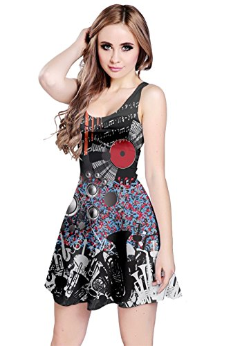 Womens Sleeveless Dark Music Treble Clef Notes Dress CowCow Disc dxRgPSd