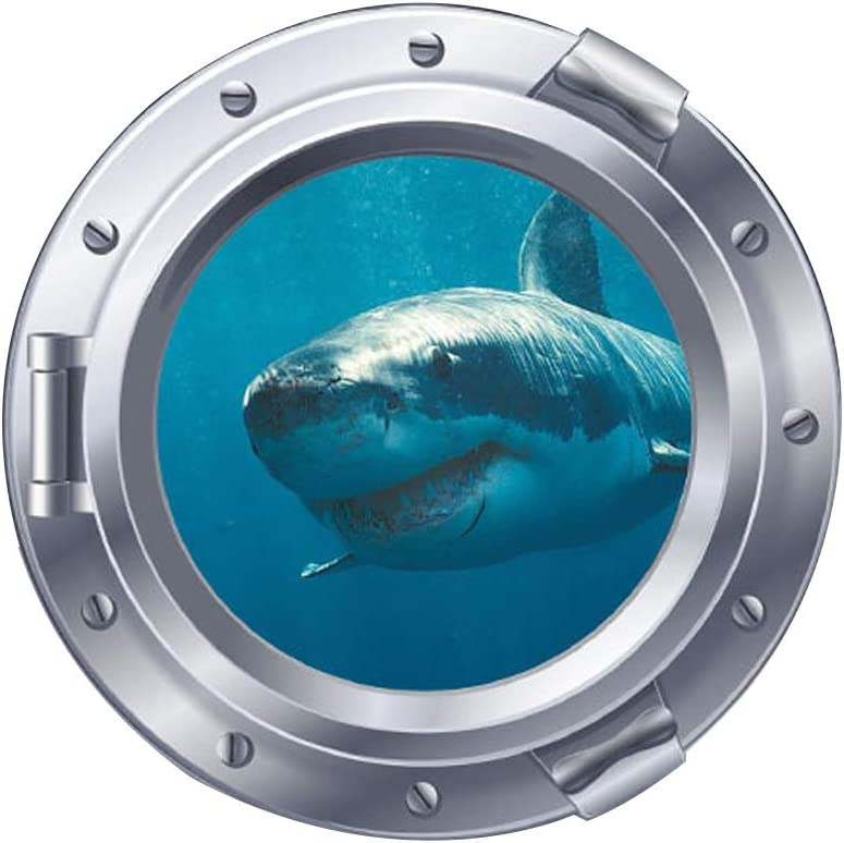 Woodland Arts 3D Undersea Big Shark Porthole Submarine View Tropical Ocean 18 x 18 inch Removable Vinyl Peel and Stick Decorative Wall Decals Stickers for Children Kids Room Nursery